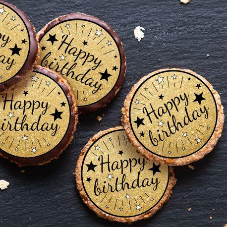 12 mini disques sucre décor Happy Birthday noir pour la décoration de vos petits gâteaux et cupcakes d'anniversaire. Ces mini disques ne...