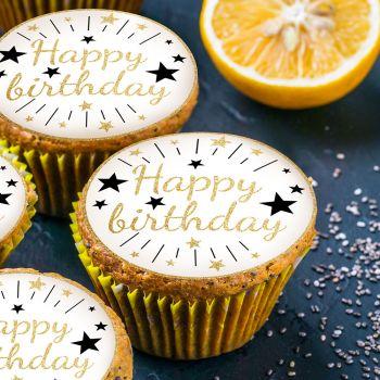 12 Mini disques en sucre Happy Birthday or
