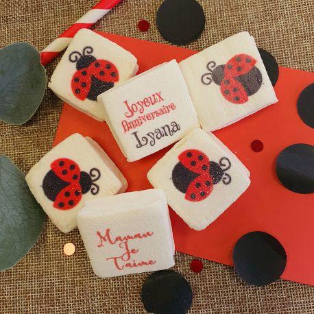 Les bonbons Guimize sont des guimauves personnalisées avec votre texte, idéal pour vos candy bar lors de vos fêtes anniversaire, mariage...