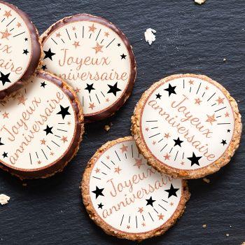 12 Mini disques en sucre Joyeux Anniversaire gold rose