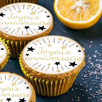12 Mini disques en sucre Joyeux Anniversaire or
