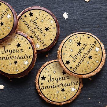 12 Mini disques en sucre Joyeux Anniversaire noir