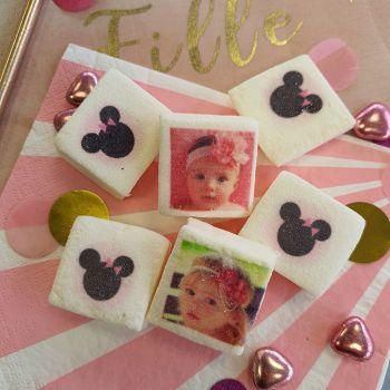 48 Guimize carrés personnalisés photo décor Minnie Baby