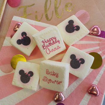 48 Guimize carrés personnalisés texte décor Minnie Baby