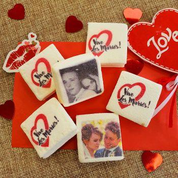 48 Guimize carrés personnalisés photo décor Vive les mariés rouge