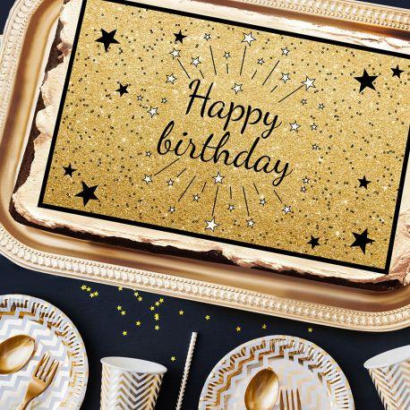 Décor sucre Happy Birthday noir A3 pour la décoration de votre grand gâteau d'anniversaire rectangulaire (format A3). Simple à utiliser,...