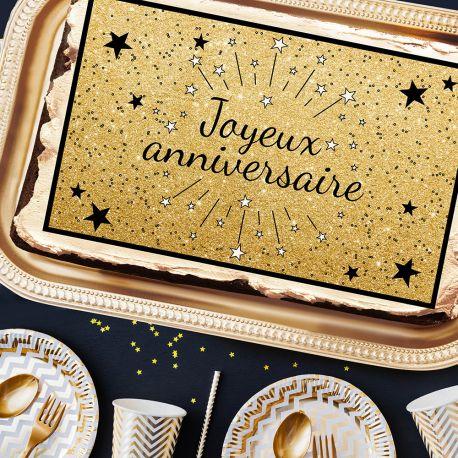 Décor sucre Joeux Anniversaire noir A3 pour la décoration de votre grand gâteau d'anniversaire rectangulaire (format A3). Simple à...