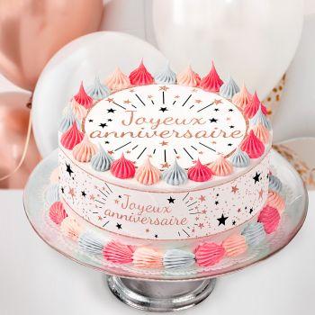 Kit Easycake joyeux anniversaire gold rose