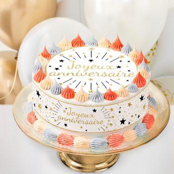 Kit Easycake joyeux anniversaire or