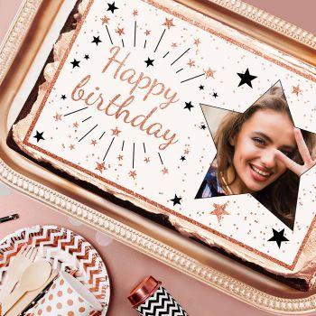 Décor sur sucre Happy Birthday rose gold A3 à personnaliser
