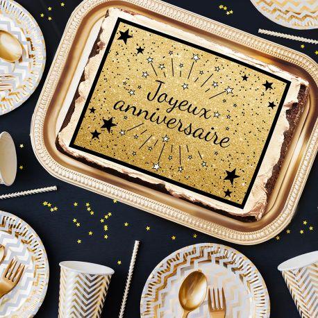 Photo comestible rectangle Joyeux Anniversaire noir pour la décoration de votre gâteau d'anniversaire rectangle (format A4). Simple à...