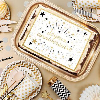 Décor sucre Joyeux Anniversaire Or A4