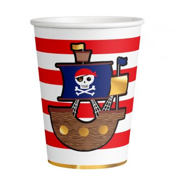 8 Gobelets carton Pirate rouge