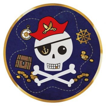8 Assiettes carton Pirate rouge