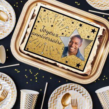 Décor sucre pour gâteau personnalisé Joyeux Anniversaire noir