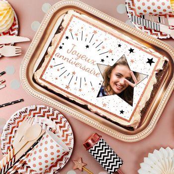 Décor sucre pour gâteau personnalisé Joyeux Anniversaire gold rose