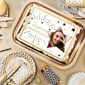 Décor sucre pour gâteau personnalisé Joyeux Anniversaire or