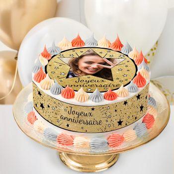 Kit Easycake pour gâteau personnalisé Joyeux anniversaire noir