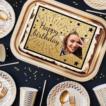 Décor sucre pour gâteau personnalisé Happy Birthday noir