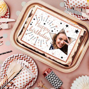 Décor sucre pour gâteau personnalisé Happy Birthday gold rose