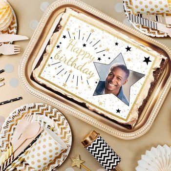 Décor sucre pour gâteau personnalisé Happy Birthday or