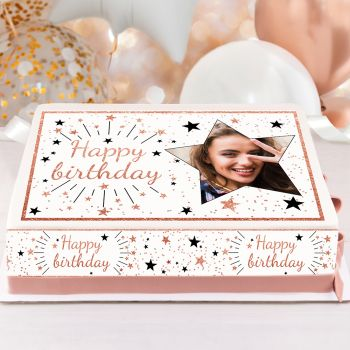 Kit Easycake pour gâteau personnalisé Happy birthday rose gold