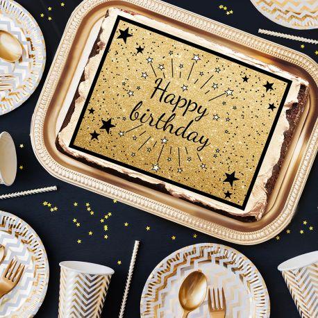 Photo comestible rectangle Happy Birthday Noir pour la décoration de votre gâteau d'anniversaire rectangle (format A4). Simple à...