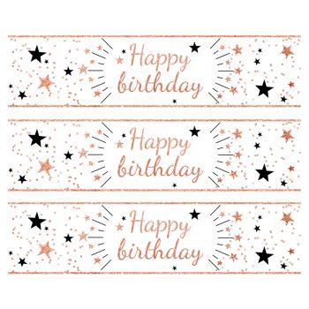 3 Bandes de gâteaux sucre décor Happy Birthday gold rose