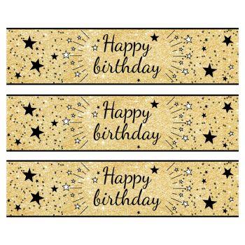 3 Bandes de gâteaux sucre décor Happy Birthday noir