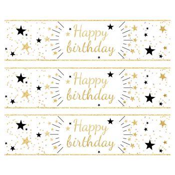 3 Bandes de gâteaux sucre décor Happy Birthday or
