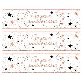3 Bandes de gâteaux sucre décor Joyeux Anniversaire gold rose