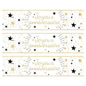 3 Bandes de gâteaux sucre décor Joyeux Anniversaire or