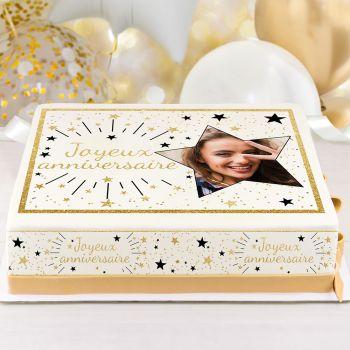 Kit Easycake pour gâteau personnalisé Joyeux Anniversaire or