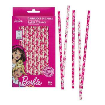 80 Pailles biodégradable Barbie