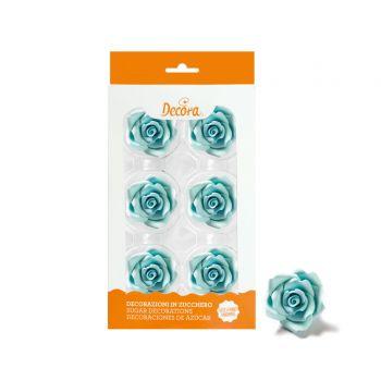 6 Roses en sucre bleu clair