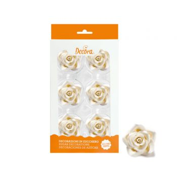 6 Roses en sucre blanches