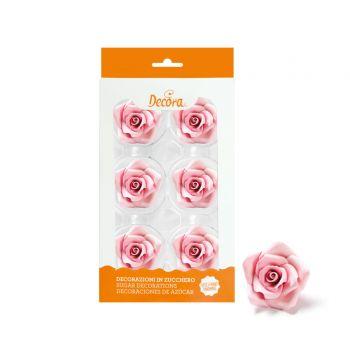 6 Roses en sucre rose