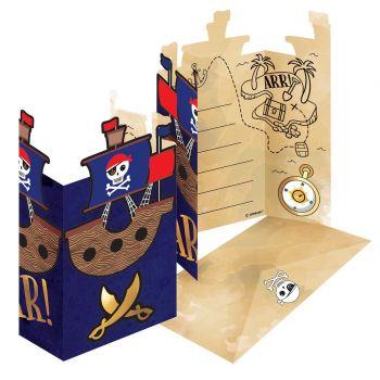 8 Invitations carton Pirate rouge