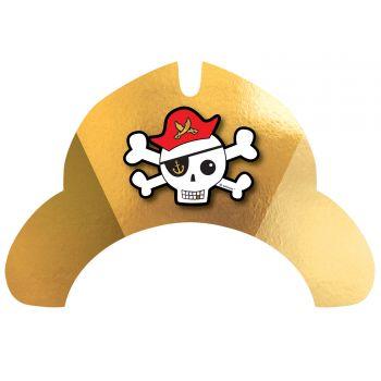 8 Chapeaux carton Pirate rouge