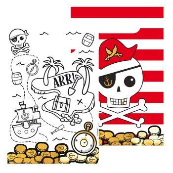 8 Sacs papier carton Pirate rouge