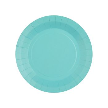 10 petites assiettes rondes compostables rainbow bleu ciel