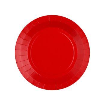 10 petites assiettes rondes compostables rainbow rouge