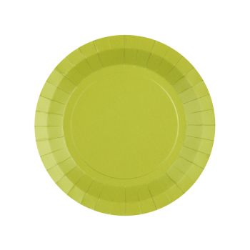 10 petites assiettes rondes compostables rainbow vert kiwi