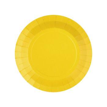10 petites assiettes rondes compostables rainbow jaune