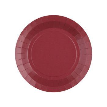 10 petites assiettes rondes compostables rainbow bordeaux