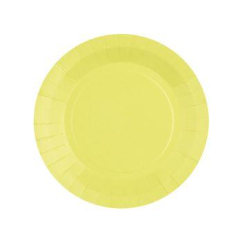 10 petites assiettes rondes compostables rainbow jaune citron
