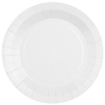 10 assiettes rondes compostables rainbow blanc
