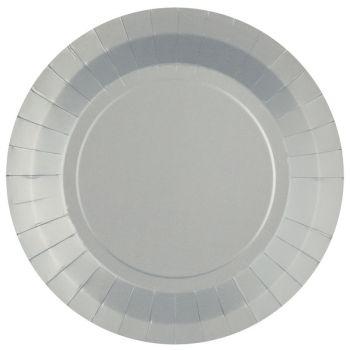 10 assiettes rondes compostables rainbow argent