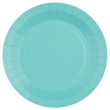 10 assiettes rondes compostables rainbow bleu ciel