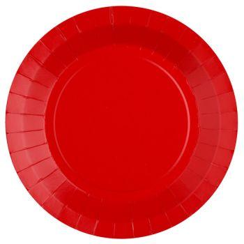10 assiettes rondes compostables rainbow rouge